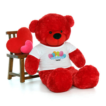 60in Red Bitsy Cuddles Happy Birthday Personalized Teddy Bear
