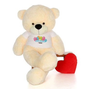 72in Vanilla Cozy Cuddles Happy Birthday Personalized Teddy Bear