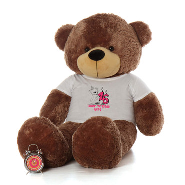 60in Mocha Sunny Cuddles Make a Wish Personalized Birthday Teddy Bear