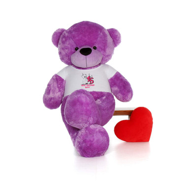 72in Purple DeeDee Cuddles Make a Wish Personalized Birthday Teddy Bear