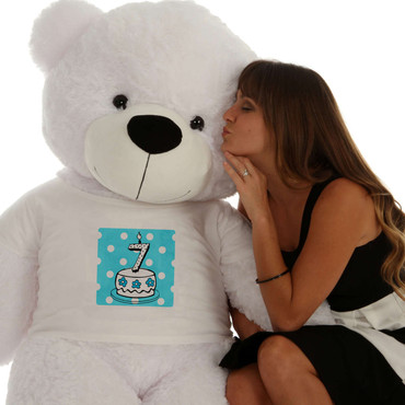 60in White Coco Cuddles in Blue Birthday Cake Age Number Candle Shirt