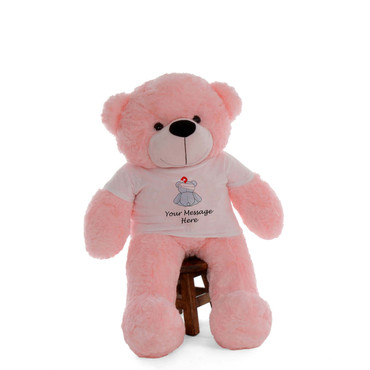 48in Pink Lady Cuddles in personalized blue teddy bear in bandage shirt
