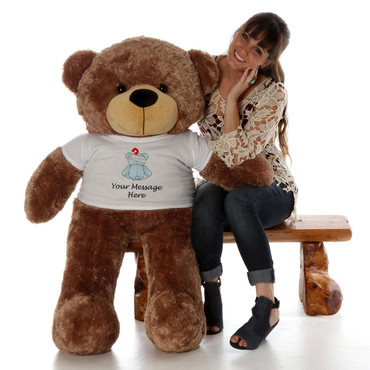 4 Foot Mocha Brown Teddy Bear with Teddy Bear Bandage T-shirt - Get Well Soon Gift