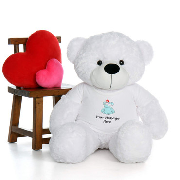 4 Foot Cute and Cuddly White Get Well Soon Teddy Bear with Personalized Message
