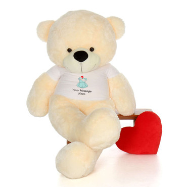 72in Vanilla Cozy Cuddles in personalized blue teddy bear in bandage shirt
