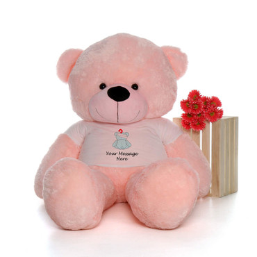 72in Pink Lady Cuddles in personalized blue teddy bear in bandage shirt