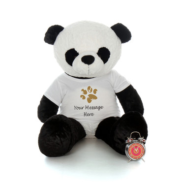 4ft Giant Panda in personalized paw print shirt