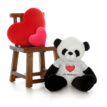 30 Inch Huge Panda Xin Stuffed Animal with Personalized Heart T-shirt