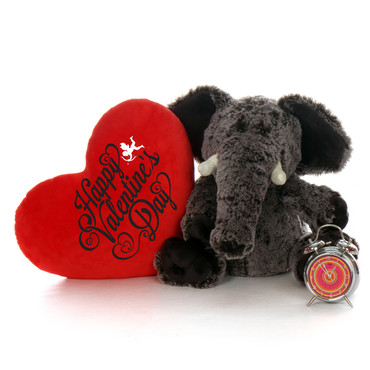 """24in Ellie Elephant with XL Red """"Happy Valentine's Day"""" Heart Pillow"""