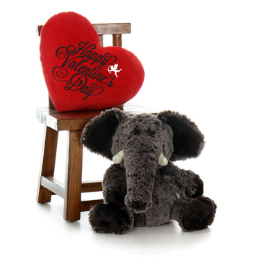 2ft Big Stuffed Elephant and Red Heart Pillow from Giant Teddy