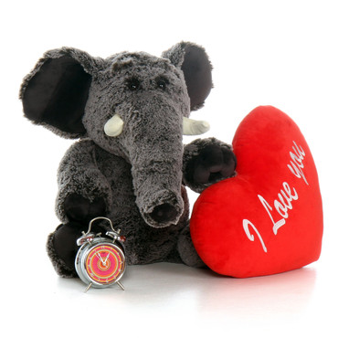 "30in Lucy Elephant with XL Red ""Happy Valentine's Day"" Heart Pillow"