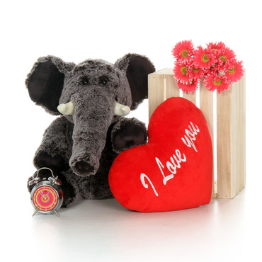 30in Grey Lucy Elephant Oversized Valentine's Day Stuffed Animal