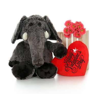 """36in Elvis Elephant with XL Red """"I Love You"""" Heart Pillow"""