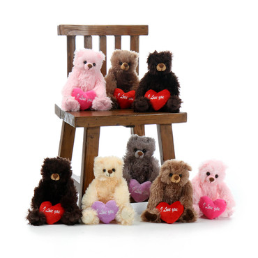 Cute Super Soft Teddy Bears with I love You Heart Pillows