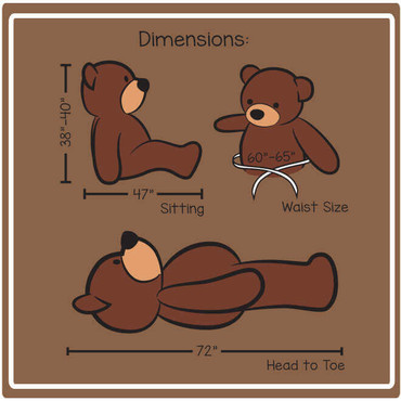 6ft  Teddy Bear Cuddles Family Dimension illustration