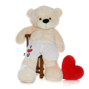 5 Foot Cream Teddy Bear in Boxers