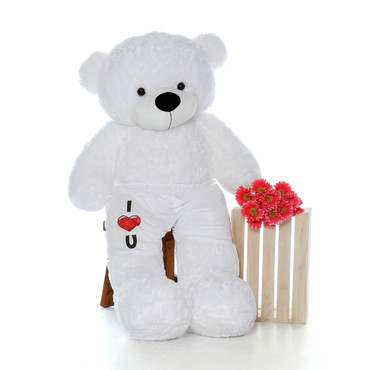Adorable 5 Foot White Giant Teddy Bear with I love You Boxers