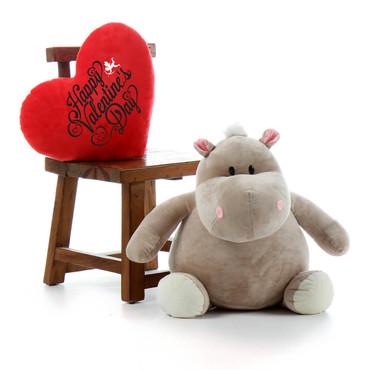 Big Stuffed Animal Hippo with Happy Valentine's Day Gift