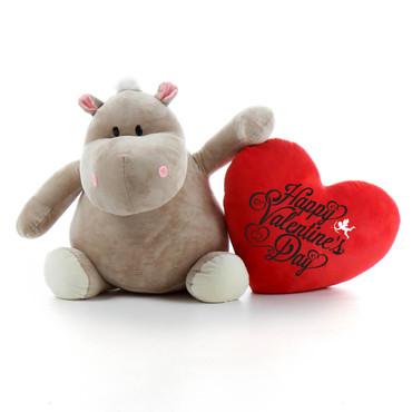 Giant Hippo Stuffed Animal with Red Pillow Heart