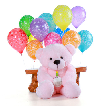 4 Foot Pink Birthday Teddy Bear for her