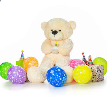 Giant Cozy Cream Teddy Bear with Birthday Cake