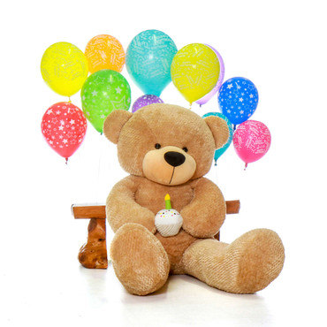 Happy Birthday Giant Teddy Bear Amber Brown