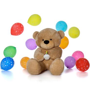 Giant Brown Teddy Bear - Birthday Edition