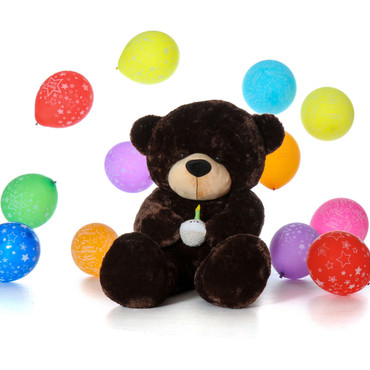 Giant Teddy Bear Chocolate Brown 6 Foot Stuffed Animal with Birthday Cupcake