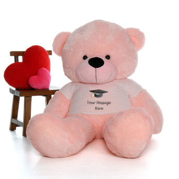 6 Foot giant Pink Teddy Bear with Graduation T-shirt