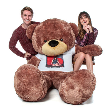 Huge Teddy Bear in Brown with Personalized Photo T-shirt