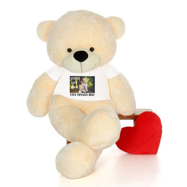 6 Foot Giant Cream Teddy Bear with Personalized T-shirt - Upload Your Photo