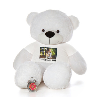 6 Foot giant White Teddy Bear with Personalized T-shirt