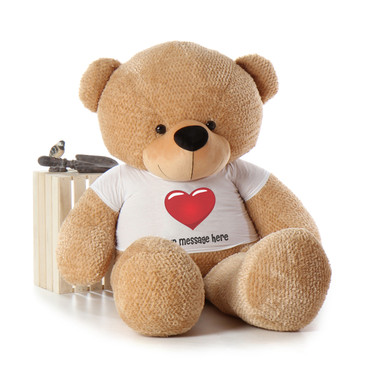 6ft Life Size Amber Teddy Bear with Red Heart Personalized T-shirt