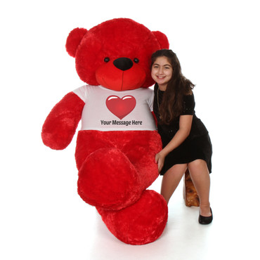 6 Foot Red Teddy Bear with Giant Personalized T-shirt
