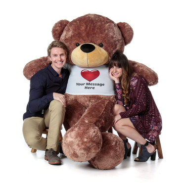 Special Valentine's Day Teddy Bear with Personalized Red Heart T-shirt