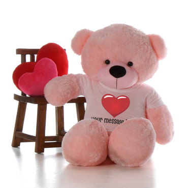 Valentine's Day Pink Giant Teddy Bear with  Heart T-shirt