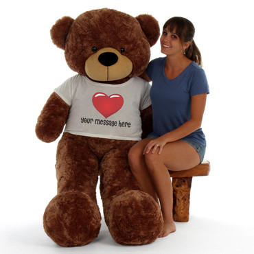 Super Soft 5 Foot Giant Mocha Brown Personalized Teddy Bear