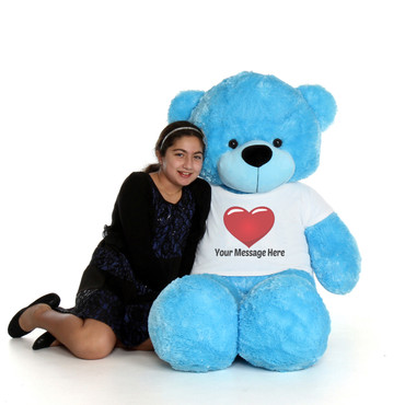 Beautiful Blue Teddy Bear with Red Heart T-shirt - 5 Foot Personalized gift