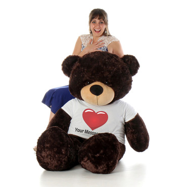 5 Foot Chocolate Brown Teddy Bear with Red Heart T-shirt