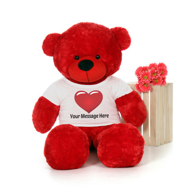 5 Foot Red Teddy Bear with Personalized T-shirt