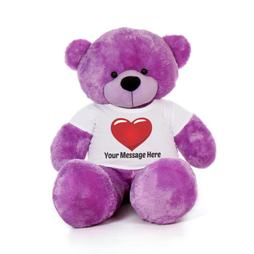 5 Foot Huge Purple Teddy Bear with Personalized Red Heart T-shirt