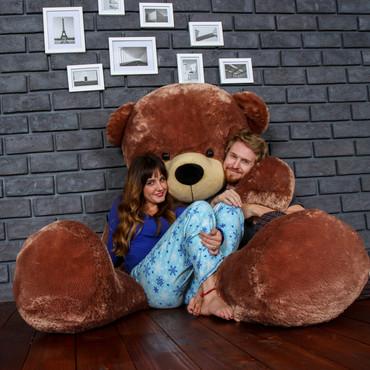 Biggest Giant Teddy Bear! 7 Foot Tall Mocha Brown Sunny Cuddles