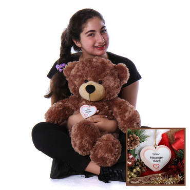 Perfect Christmas Gift Super Soft Brown Teddy Bear with Personalized Ornament Hanging around Neck