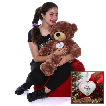 2 Foot Adorable Super Soft Teddy Bear with Personalized Christmas Ornament
