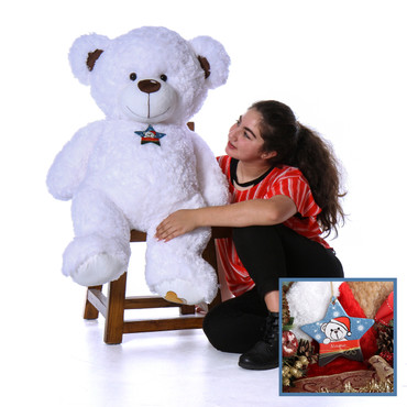4 Foot White Christmas Teddy Bear with Personalized Ornament