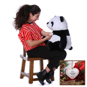 Super Soft Christmas Panda Stuffed Animal with Personalized Ornament