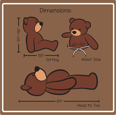 Teddy and Hugs Giant 7 Foot Teddy Bear Size Chart
