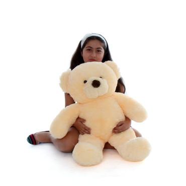 2.5ft Smiley Chubs vanilla cream teddy bear huggable soft fur