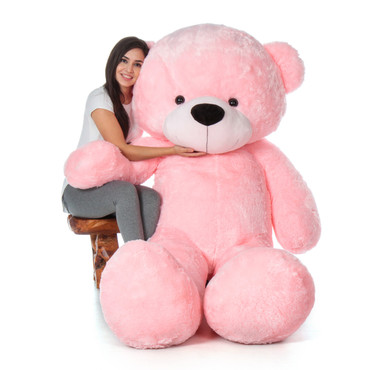 Adorable Super Soft Pink Teddy Bear - Bigger than Life Size!