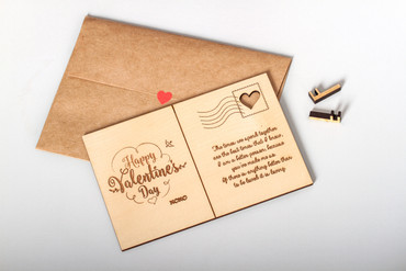 Personalized Wooden Card with Red Heart Seal